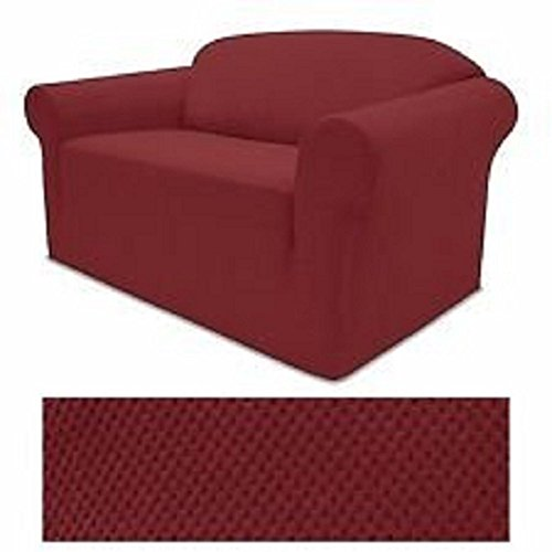 Grand Linen 4-Way Stretch Spandex Jersey Burgundy RED Loveseat Slipcover - 1 Piece Couch Cover (Burgundy Slipcover)
