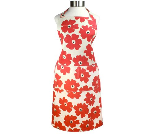 MUkitchen Adjustable Cotton Herringbone Weave Apron with Large Pockets, 35-Inches, Red Poppy (Floral Apron Print)