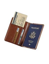 RFID Blocking Travel Passport Holder KATUMO Slim ID Card Ticket Passport Cover (Brown)