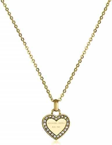 Michael Kors Tone Logo Heart Pendant Necklace