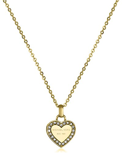 Michael Kors Gold Tone Logo Heart Pendant Necklace