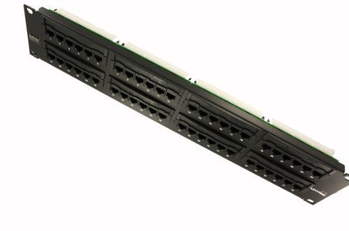 Leviton 5G596-U48 GigaMax 5E Universal Patch Panel, 48-Port, 2RU, Cat 5E, Cable Management Bar Included
