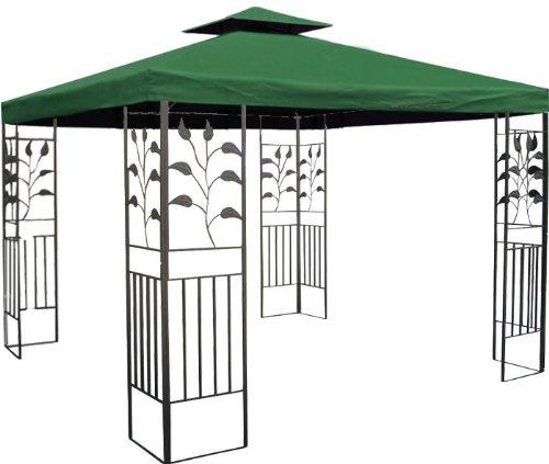 WASSERDICHTER Pavillon 3x3m grün TOSKANA Metall inkl. Dach Festzelt wasserfest Partyzelt (grün)