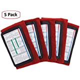 WristCoaches QB Wrist Coach - Playbook Wristband (Youth) - Heavy Duty Football Wristbands Boys Three Playsheet Compartments - Perfect Flag Football Tackle Football (5-Pack) (Red)