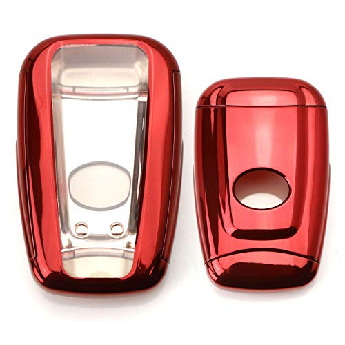 - iJDMTOY Chrome Finish Red TPU Key Fob Protective Case w/Button Cover For 2017/2018-up Toyota Camry Prius Prime Mirai C-HR, etc w/Push Start Engine Feature