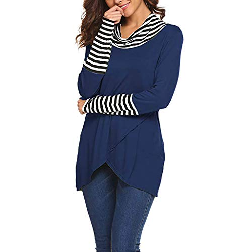 2019 Womens O-Neck Blouse Pile Collar Stripe Long Sleeve Sweatshirt Pullover Tops Shirt Striped Cuffs Casual Tee Blue