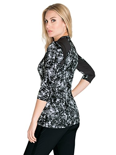 (Barco One Wellness BWK802 Printed Knit Scrub Top Black Floral Print/Black Mesh M)