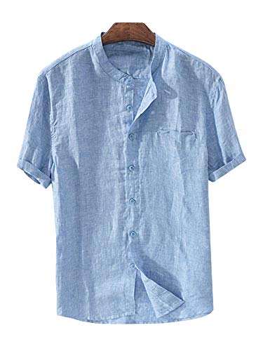 Enjoybuy Mens Banded Collar Linen Casual Button Up Shirts Short Sleeve Summer Comfort T-Shirts