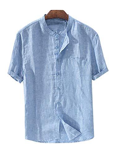 Cotton Mandarin Collar Shirt - Mens Linen Button Down Shirts Beach Short Sleeve Cotton Lightweight Tops Summer Tees Plain Mandarin Collar Blouses
