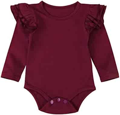 5f194947943 Minesiry Infant Baby Girl Basic Ruffle Long Sleeve Cotton Romper Bodysuit  Tops Clothes