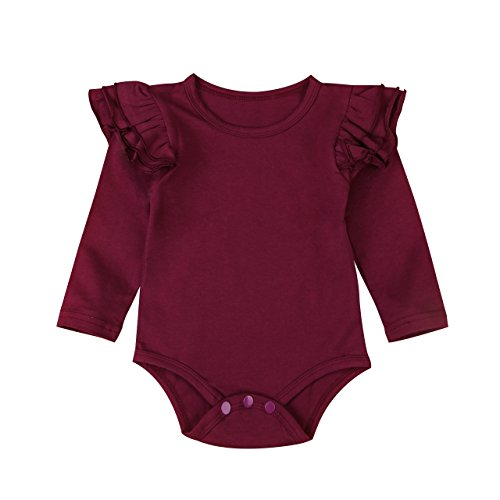 Infant Baby Girl Basic Ruffle Long Sleeve Cotton Romper Bodysuit Tops Clothes (Red, 3-9 Months)