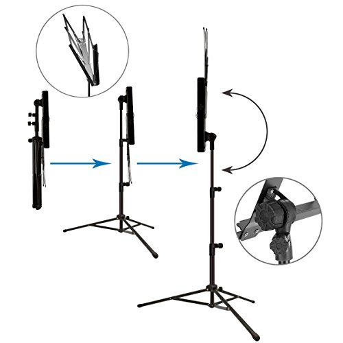 Music Stand Audo Folding Music Stand With Music Book Clip And Carry Bag Black (1Pack) by Audo (Image #2)