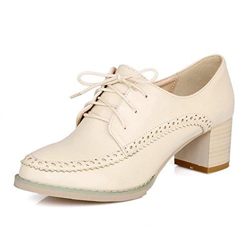 BalaMasa da donna Lace Up Kitten Heels Solid pompe scarpe, Bianco (White), 35