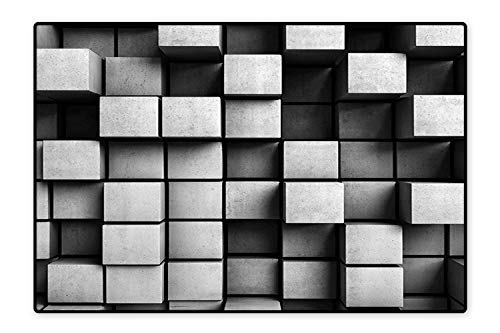 Perfect Kitchen Rugs Geometric Minimalist Contemporary Art Square Bird View Building Like Image Black and Grey for Home and Office 6'6