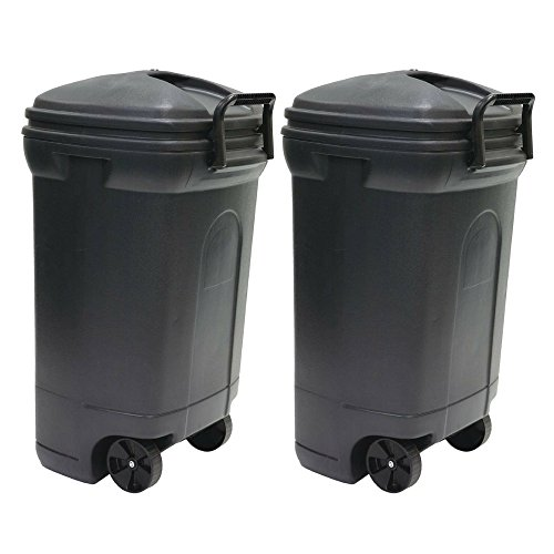 United Solutions 34 Gal. Plastic Wheeled Outdoor Trash Can - 2 Pack