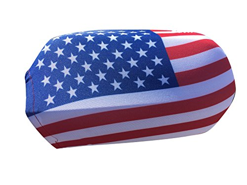 GiftWrap Etc. Side Mirror Covers for Cars - Set of 2, 4th of July, Patriotic Decorations, American Flag, Rear View Mirror Accessories, Red, White, Blue, Veteran's Day, Bling ()
