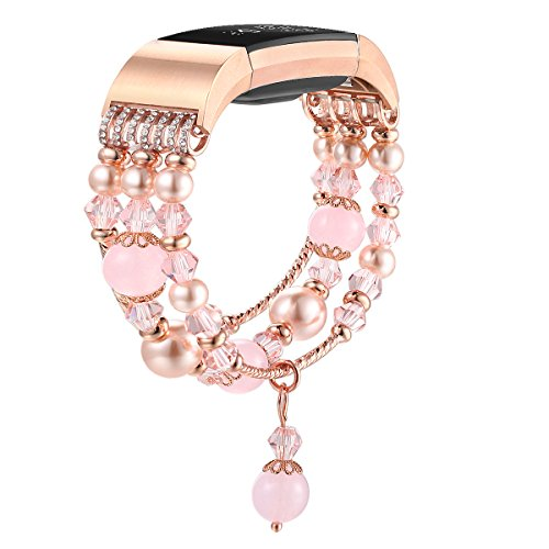 r Fitbit Strap Bands Compatible for Fitbit 2 Accessories, Glitter Pink Bracelets Women Compatible for Charge 2(Pink) ()
