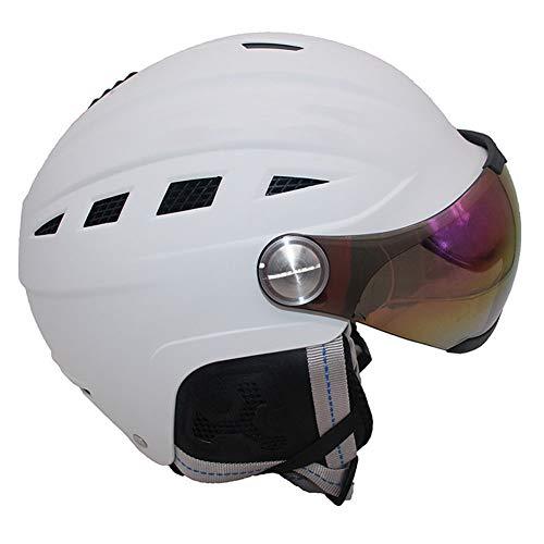 Ski Expert Helmet with Visor, Light Weight Adjustable Ventilation Advanced Competition Helmet Warm Fluff Earpads Snowboard Helmet,White,S