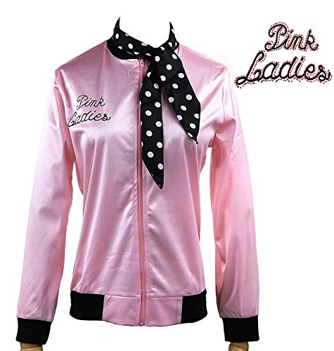 1950s Pink Ladies Satin Jacket Neck Scarf T Bird Women Danny Fancy Dress (M, Rhinestore) ()