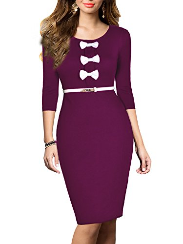 REPHYLLIS Women's Vintage Bowknot Belt Office Wear to Work Pencil Dress S Purple