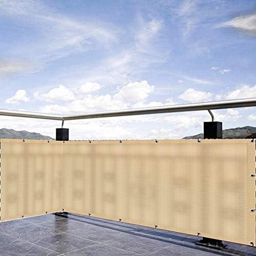 WUZMING バルコニー プライバシー画面、パティオ フェンスのプライバシー風防アンチUV金属穴付きHDPE耐引裂性、51サイズ (Color : Beige, Size : 150x700cm)