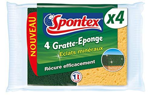 Spontex Eclats Mineralen, schuurspons, 8 groene schuursponzen, met silicamineralen, 2 verpakkingen met 4 sponzen