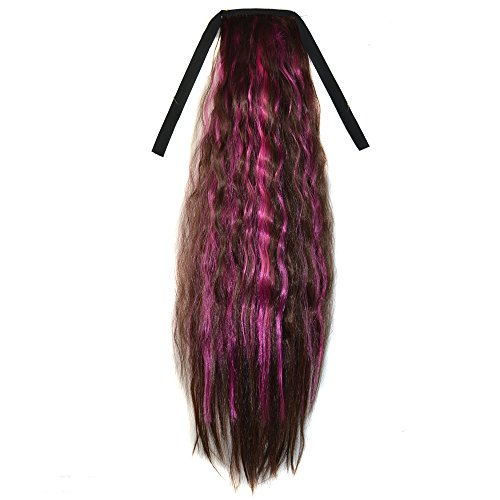 Abwin Mixed Color Bundled Corn Hot Roll Ponytail / Dark Brown and Hot Pink (Corn Roll Hairstyle)