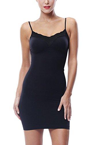 - KHAYA Women Full Slip Shapewear Tube Dress Firm Slim Lace Body Shaper Black L