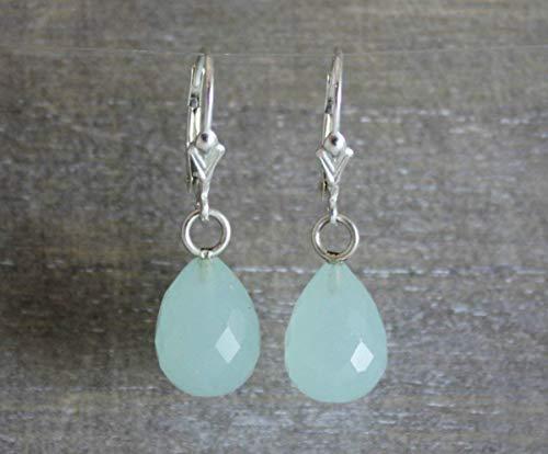 Aqua Chalcedony Briolette Sterling Silver Earrings