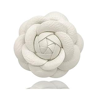 MISASHA Designer White Leather Handmade Camellia Rose Flower Brooch Pin For Women