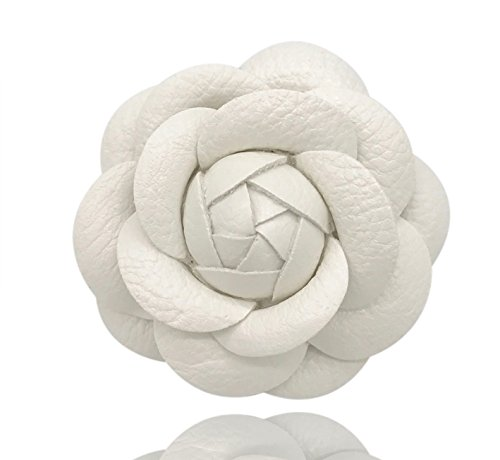 MISASHA Designer White Leather Handmade Camellia Rose Flower Brooch Pin For Women