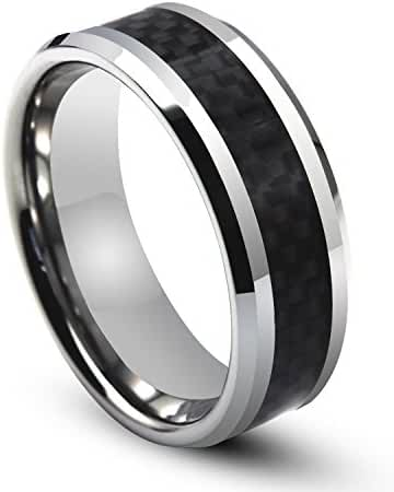 Will Queen 8mm Titanium Ring Inlaid Black Carbon Fiber, Silver White Beveled Men's Titanium Ring Comfort Fit Wedding Bands Promise Rings for Men