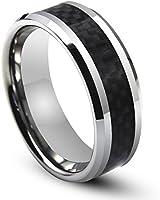 Will Queen 8mm Titanium Ring Inlaid Black Carbon Fiber, Silver White Beveled Men's Titanium Ring Comfort Fit Wedding Bands Promise Rings for Men