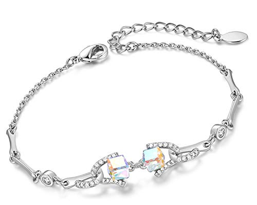 Bracelets for Women Charm Fashion Swarovski Jewelry Cubic Crystals Bangles Thanksgiving Gift for Girls Christmas Birthday Gifts for Her Multicolor with 1 Gift Box from CDE