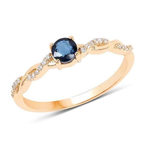 14K Yellow Gold Blue Sapphire and White ...