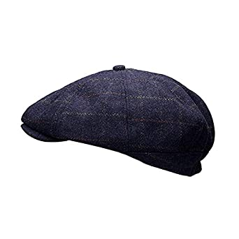 21e2ba7181c Heritage Traditions Womens Men Wool Tweed Pane Peak Newsboy Cap Hat (Blue)   Amazon.co.uk  Clothing