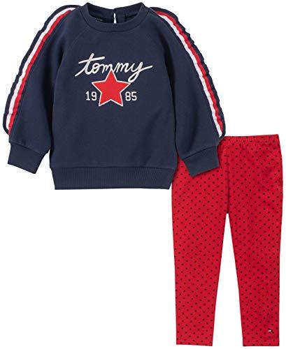Tommy Hilfiger Girls' Toddler 2 Pieces Legging Set, Navy/Red Print, 4T (Hilfiger Kids)