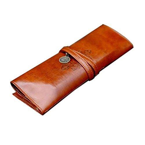 DDLBiz Astuccio, Vintage in pelle Rollup caso di matita, sacchetto della matita, penna tasca, marrone