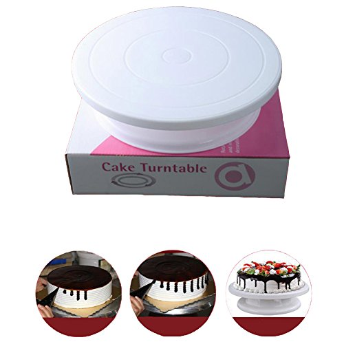 Revolving Circular Cake Display - Haplain Cake Decorating Turntable Stand Piping Turntable Cake Display Table Stand Cake Making Tools Baking Tools