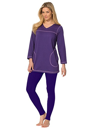 Dreams & Co. Women's Plus Size Topstitched Pajamas – Medium, Deep Grape Violet Dust