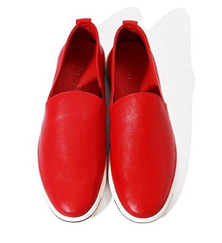 Happyshop (tm) Heren Casual Lederen Geventileerde Mocassin Drijvende Schoen Sunmer Kleurrijke Instappers Loafers Rood