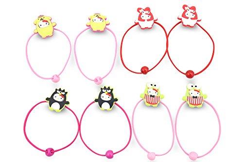 [Finex - Set of 8 - Hello Kitty in Costume Elastic Cord Hair Ties Ponytail Holders hair tie holder set hair accessories - Random Colors - My Melody Keroppi Purin Badtz-maru Tuxedo Sam] (Badtz Maru Costume)