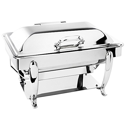 Eastern Tabletop 3915S 8 Qt. Stainless Steel Rectangular Induction Chafer with Stand and Hinged Dome Cover