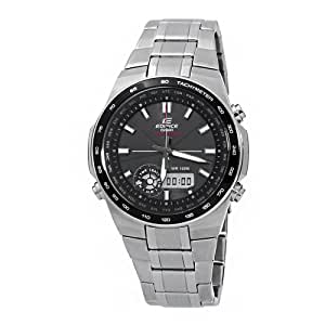 Casio Men's EFA134SB-1A1 Edifice Solar Powered Stainless Steel Bracelet and Black Dial Watch