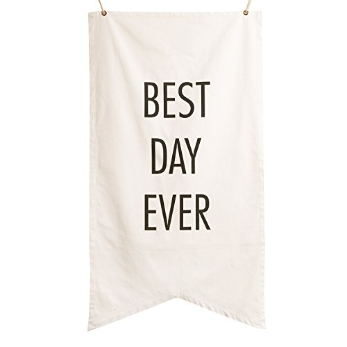Ling's moment 5ft Tall Oversized Gorgeous Canvas Fabric Best Day Ever Wedding Sign Pennant Banner for Fall Winery Wedding Reception and Ceremony Backdrop Decoration ()