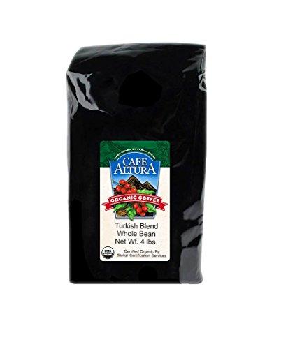 Cafe Altura Whole Bean Organic Coffee, Turkish Blend, 4 Pound