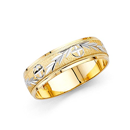 Wellingsale 14k Two 2 Tone White and Yellow Gold Polished Satin 6MM Diamond Cut Comfort Fit Wedding Band Ring - Size 9.5 by Wellingsale®