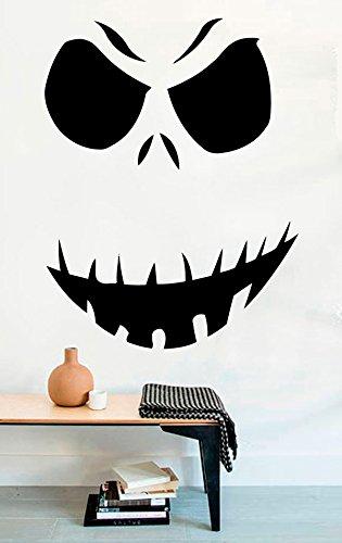 Scary Face Pumpkin Vinyl Wall Decals Halloween Decor Stickers Vinyl Mural MK3304 ()
