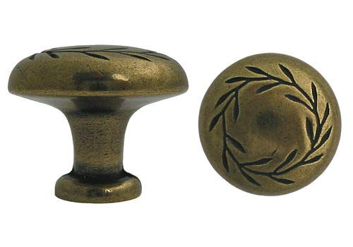 Bar Handle Knob Pull | Kitchen Cabinet Hardware| Dresser Drawer Handles New Antique Brass Kitchen Bathroom Cabinet with a Leaf Motif Knobs 32mm