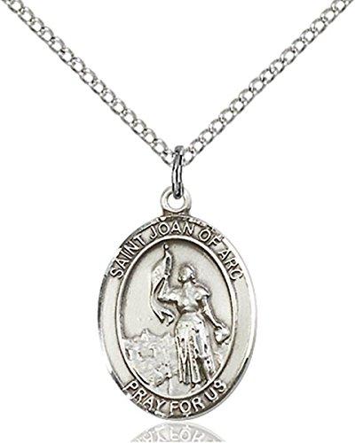 (Sterling Silver Saint Joan of Arc Medal Pendant, 3/4 Inch)